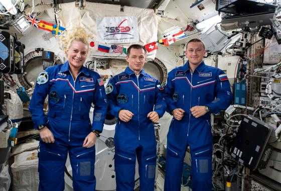 Like the first crew, the current residents on the ISS are one American and two Russians. From left are Kate Rubins, Sergey Ryzhikov, and Sergey Kud-Sverchkov. (NASA)
