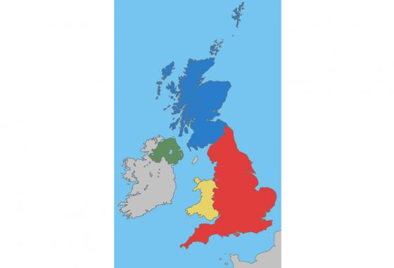 The United Kingdom includes the countries of England (red), Wales (yellow), Scotland (blue), and Northern Ireland (green). (UKPhoenix79/GNU FDL/CC BY-SA 3.0)