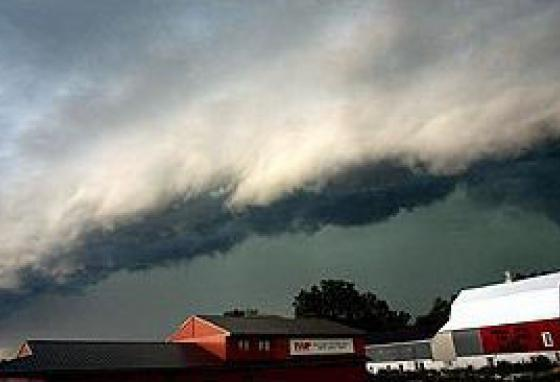 Derechos can be very destructive storms. Unlike tornados, they move in straight lines. (NOAA)