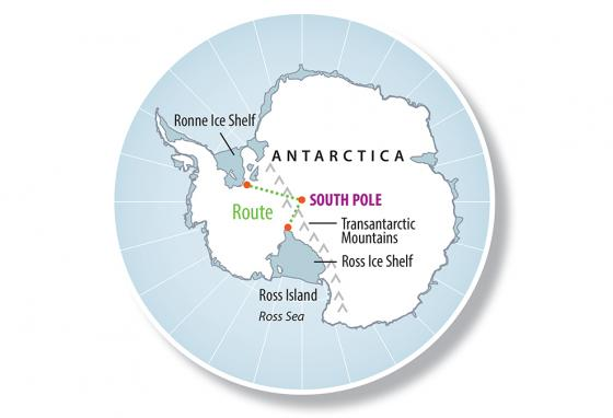 Louis Rudd's planned route is seen on a map of Antarctica.