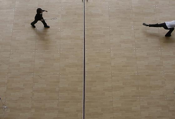 Children play in a badminton tournament in Madrid, Spain. (AP)
