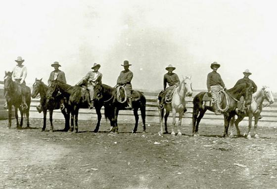 A photo from around 1910 shows cowboys on Choctaw horses in Pushmataha County, Oklahoma. (AP)