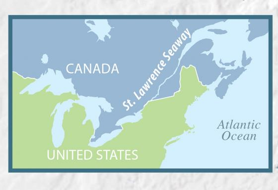 The Saint Lawrence Seaway connects the Great Lakes to the Atlantic Ocean.