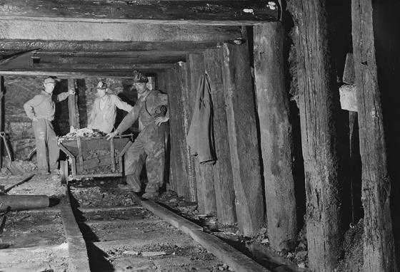 Support timbers are seen in a mine shaft in Pennsylvania in 1940. (LOC)