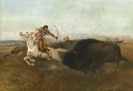 A painting by Charles M. Russell shows how horses changed the way Indians hunted.