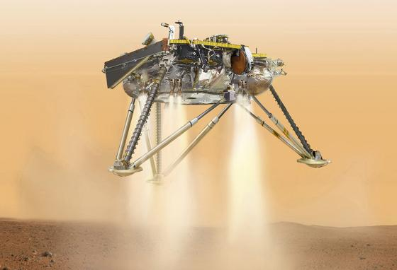 This artist's rendering shows InSight during its landing. (AP)