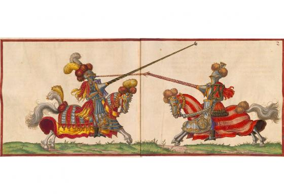 Drawings from the 1500s show armored knights battling with lances.