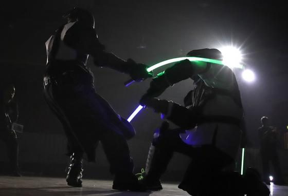 The French fencing federation has officially recognized lightsaber dueling as a competitive sport. (AP)