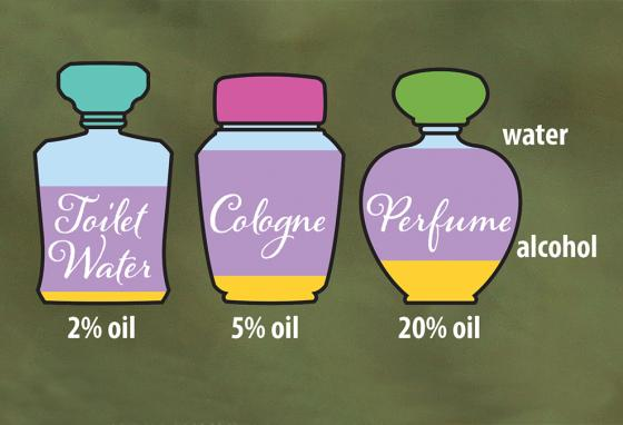 Very little oil is used in perfume, cologne, and toilet water. A little goes a loooong way! (RB)