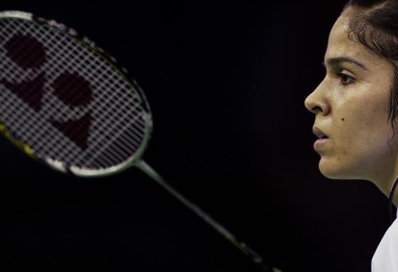 The celebrity is also a fierce competitor, giving her game full concentration. (AP)