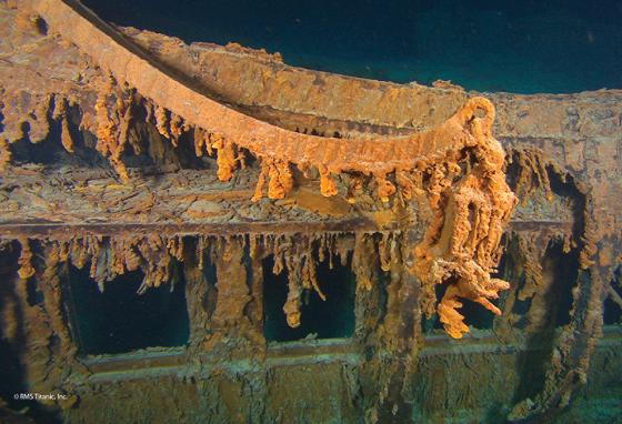 This photo of the wreck of Titanic shows a davit from which a lifeboat was lowered. (AP)