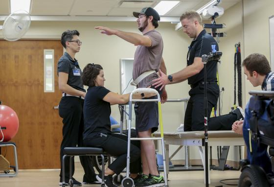 Jered, paralyzed since a 2013 snowmobile accident, can stand and take steps again thanks to an electrical implant that zaps his spine. (AP)