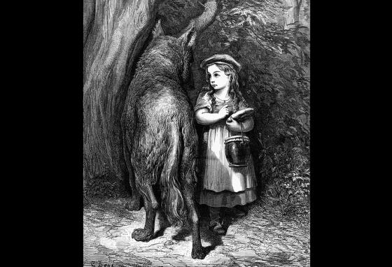 In an 1883 illustration by Gustave Dore, the wolf circles Little Red Riding Hood.