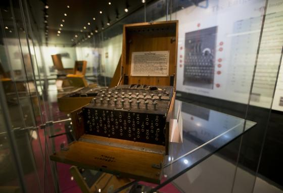 An Enigma machine is displayed at Bletchley Park museum. The German military used this machine to send secret, encrypted messages. (AP)