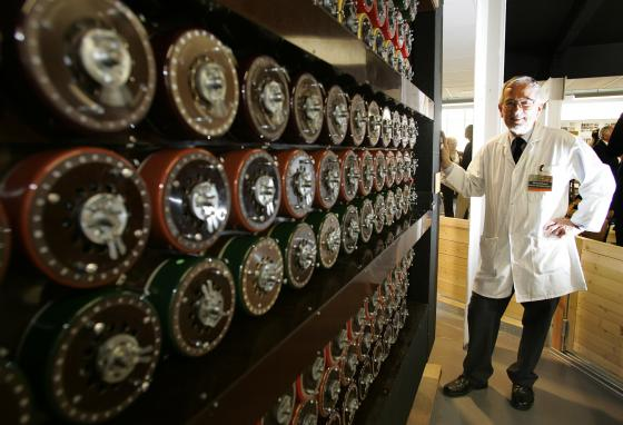 Mike Hillyard helped build a replica of the Turing Bombe machine for the museum. The Bombe helped crack Enigma. (AP)