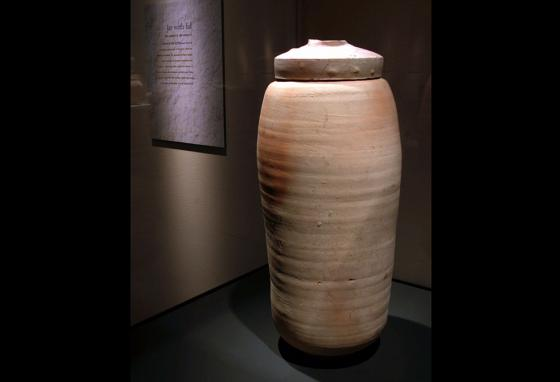 One of the storage jars of the Dead Sea Scrolls on display at The Field Museum of Natural History in Chicago, Illinois (AP)