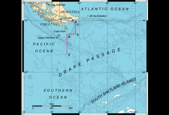 The Drake Passage is a stretch of water between South America and Antarctica.