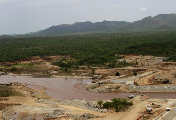 The Blue Nile river flows near the site of the planned Grand Ethiopian Renaissance Dam. (AP)
