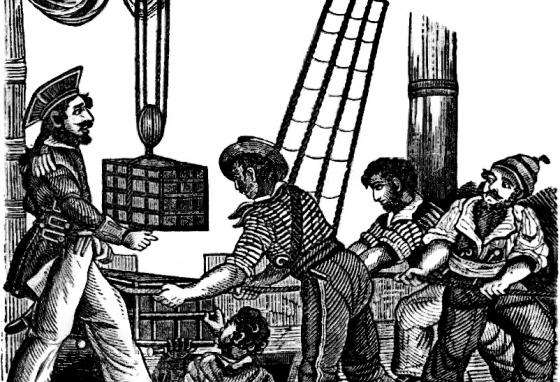 This illustration depicts Captain Henry Every receiving three chests on board his ship.