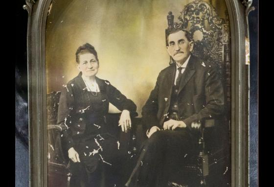 This framed portrait shows Mr. Garrett with his wife. The photo is displayed at the Bryan Museum in Galveston, Texas. (AP)