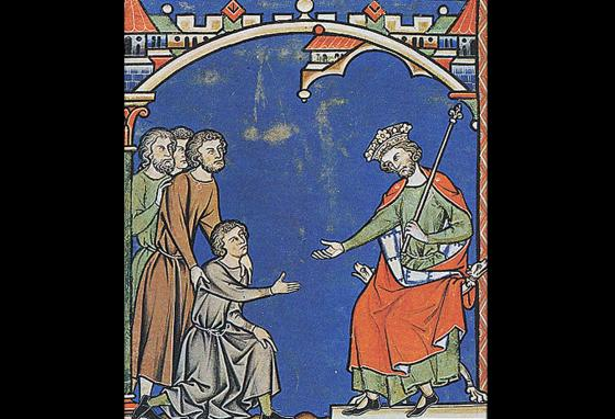 This illustration depicts King David showing kindness to Mephibosheth.