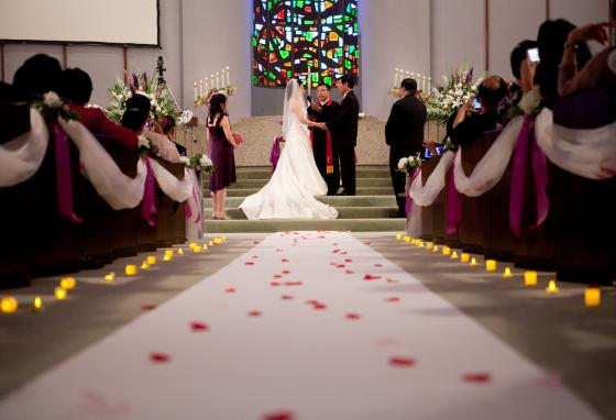 A couple gets married in a church. A marriage works best when it has three participants: a man, a woman, and God.