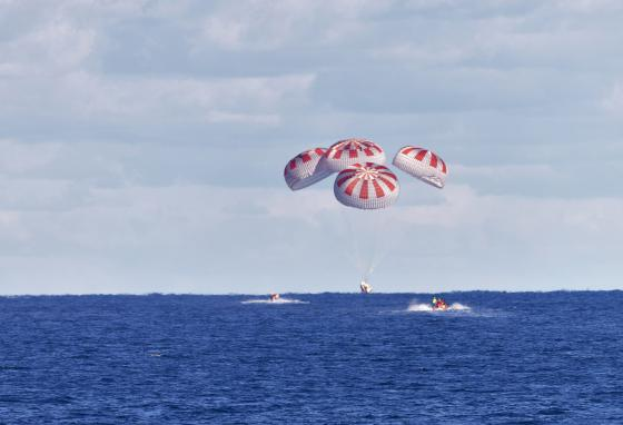 The astronaut mice returned to Earth in a type of re-entry called a splashdown. (AP)