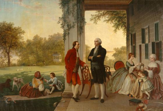 This painting by Rossiter and Mignot depicts Marquis de Lafayette and George Washington at Mount Vernon.