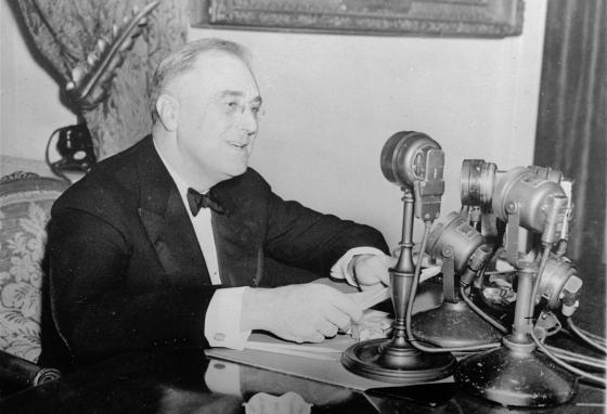 President Franklin D. Roosevelt talks to the nation in a fireside chat from the White House in 1937.  (AP)