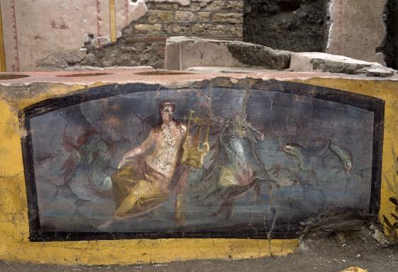 The frescoes were probably signs for the shop and the menu. (Luigi Spina/Parco Archeologico di Pompei via AP)