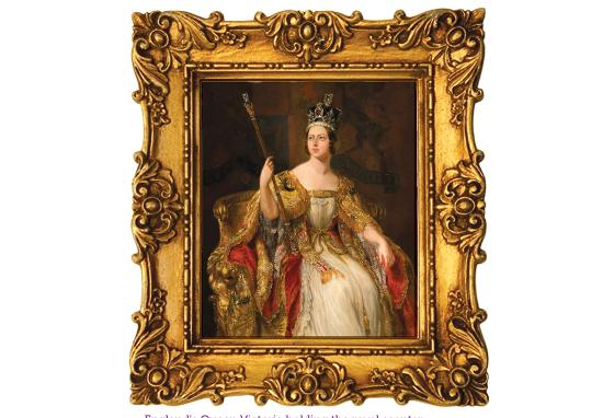 A painting shows England's Queen Victoria holding the royal scepter.