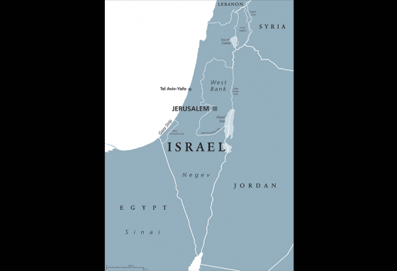 A map of Israel, showing the Sea of Galilee in the north