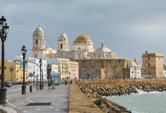 This is Cádiz Cathedral, located in southern Spain.