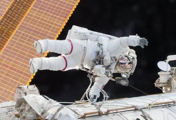 Scott Kelly participates in a spacewalk outside the International Space Station in 2015. (AP)