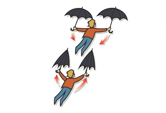 Thrust works the same for people. Too bad umbrellas don't work the same as wings! (Rich Bishop)
