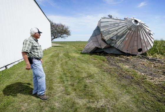 The derecho hit several Midwestern states. But it was especially damaging in Iowa, with winds of up to 140 mph. (AP)