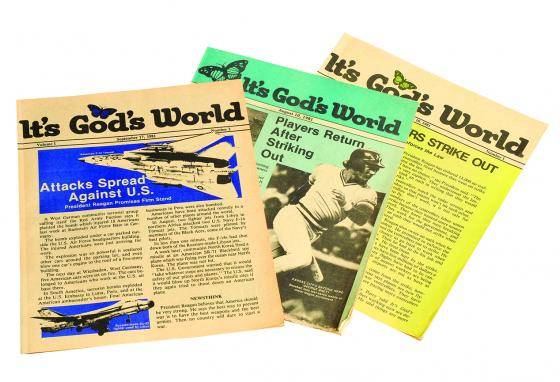 These are some of the very first It's God's World magazines. (GWN Archive)