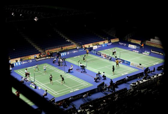 A badminton court looks like a cross between a tennis court and a volleyball court. (AP)