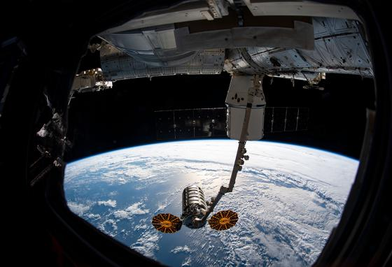 The Cygnus resupply spacecraft arrives at the International Space Station. Future deliveries could include food-growing and food-preparation technology. (NASA)