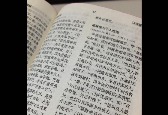 A page of a Bible in Chinese