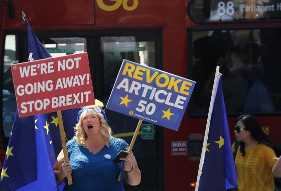 Demonstrators against Brexit shout and wave signs in London. (AP)