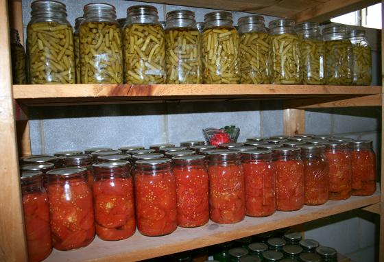 Canned and vacuum-sealed, green beans and tomatoes sit on shelves, ready to feed the family through the winter. (AP)