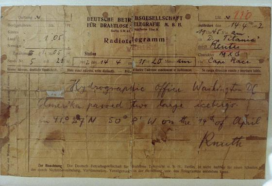 A telegram from the German ship the Amerika to the Titanic to warn her crew about icebergs (AP)