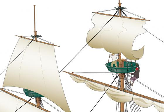 A man climbs up past the mainsail to work on the topsail. The mainsail is furled (tied up) to the yard. (RB)