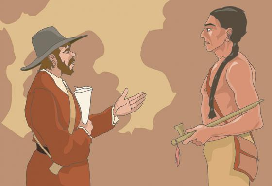 The Pilgrims made a friend who spoke their language. (RB)