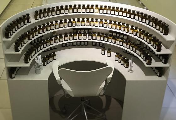 "A perfume organ is an organized arrangement of perfume oils used by a ""nose"" in mixing new scent formulas."