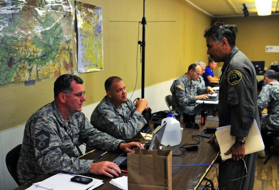 A Washington State Army National Guard team goes through its disaster response plans. (AP)