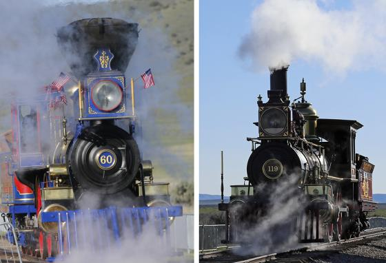 The Jupiter, Central Pacific's No. 60 (left), chugs from the west. The Union Pacific No. 119 (right) chugs from the east. (AP)