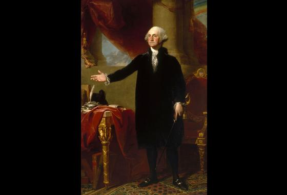 People are most familiar with paintings of Washington later in his life, like this one by Gilbert Stuart done in 1796. (AP)