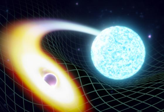 In this illustration, time and space warp as a black hole, left, is about to swallow a neutron star. (Soheb Mandhai/LIGO India via AP)